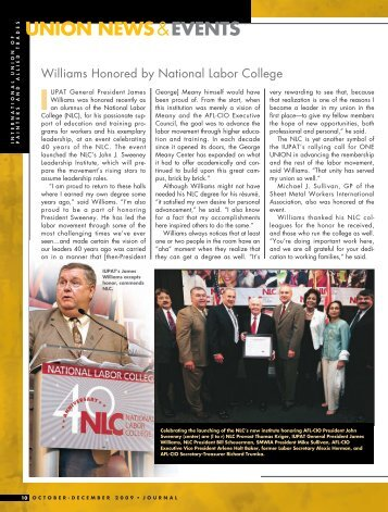 Williams Honored by National Labor College - IUPAT