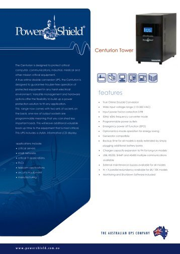 PowerShield Centurion Tower 1-10KVA UPS Brochure