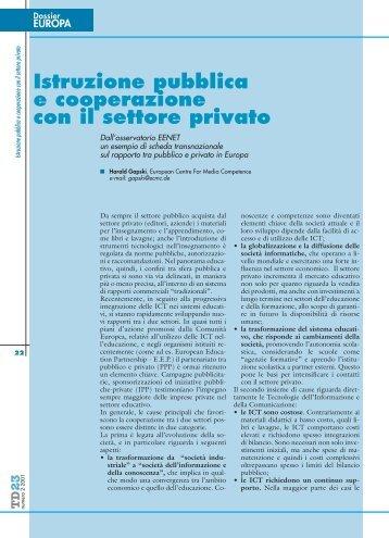 Istruzione pubblica e cooperazione con il settore privato