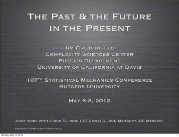 Slides (PDF) - Complexity Sciences Center - UC Davis