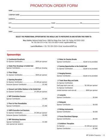 2012 Promotion Order Form   The National Postal Forum
