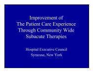 Improvement of The Patient Care Experience ... - Point Alliance