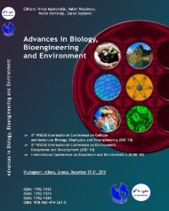 ADVANCES in BIOLOGY, BIOENGINEERING and ... - Wseas.us