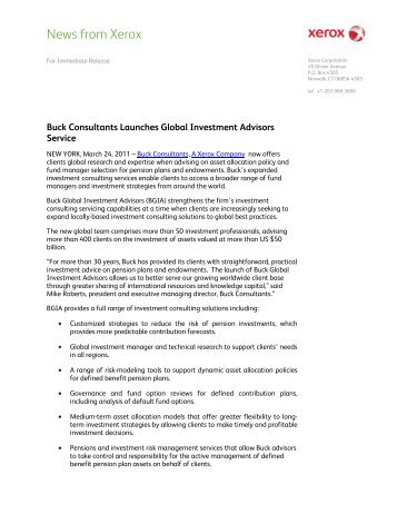 Buck Consultants Launches Global Investment Advisors Service