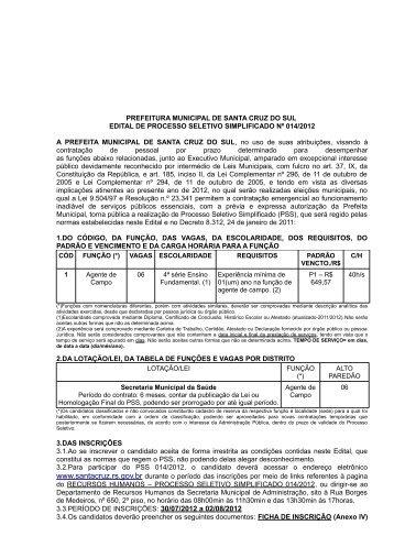 Edital 014/2012 - Prefeitura de Santa Cruz do Sul