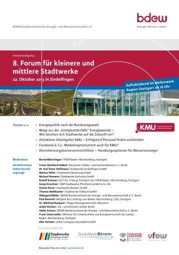 8. Forum für kleinere und mittlere Stadtwerke - TAM