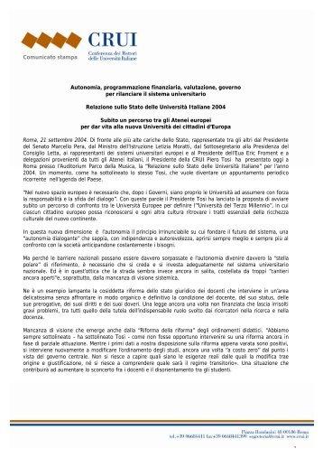 Comunicato stampa Autonomia, programmazione finanziaria ... - Crui