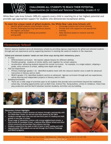 Gifted and Talented Program flyer - White Bear Lake Area Schools