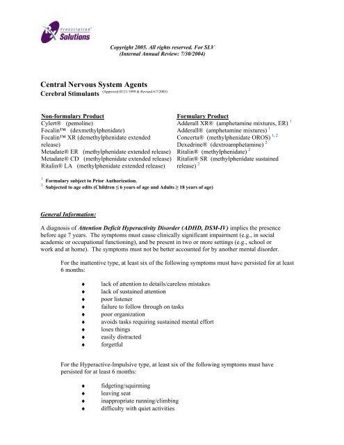 Central Nervous System Agents - OptumRx