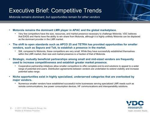 2010 Land Mobile Radio Global Market Demand ... - VDC Research