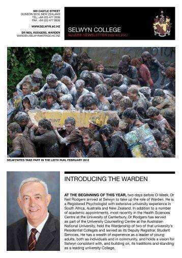 Alumni Newsletter, Winter 2012 - Selwyn College