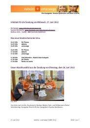 Infoblatt für die Sendung am Mittwoch, 27. Juni 2012 Das neue ...