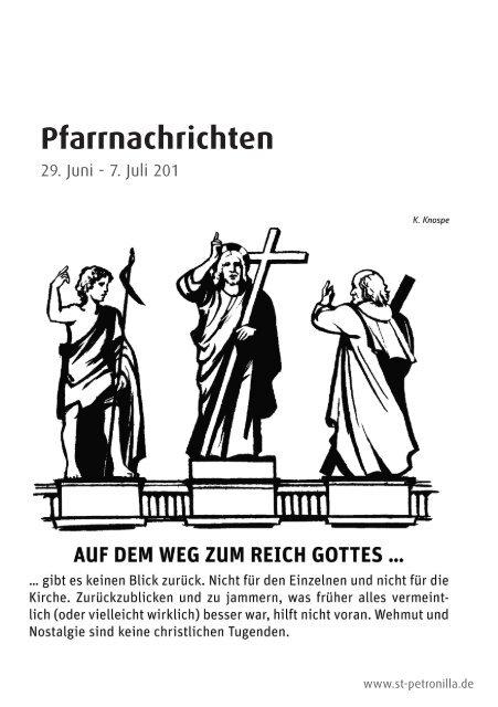 Pfarrnachrichten für die Zeit vom 29. Juni - 7. Juli 2013 - St. Petronilla