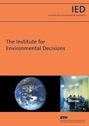The Institute for Environmental Decisions - Chair of Economics