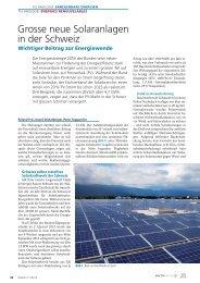 Grosse neue Solaranlagen in der Schweiz - Basler & Hofmann