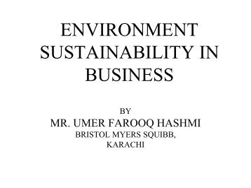 ENVIRONMENT SUSTAINABILITY IN BUSINESS - IEP Karachi Centre