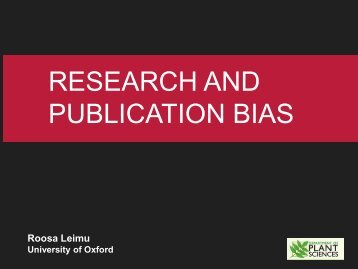 RESEARCH AND PUBLICATION BIAS