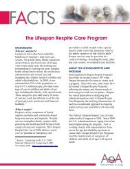 The Lifespan Respite Care Program - Administration on Aging