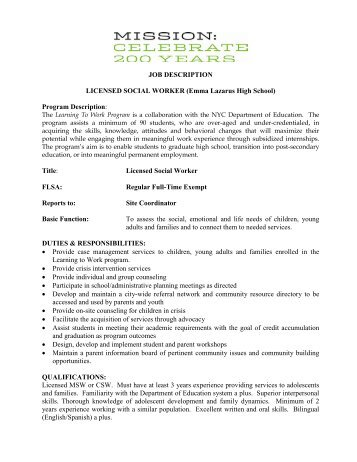 LTW Licensed Social Worker - New York City Mission Society
