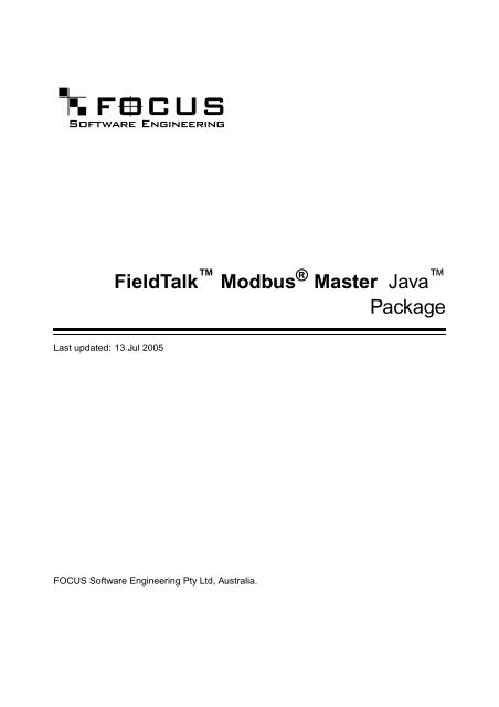"FieldTalkâ""¢ Modbus Master Java Package"