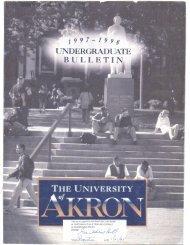 UNDERGRADUATE BULLETIN - The University of Akron