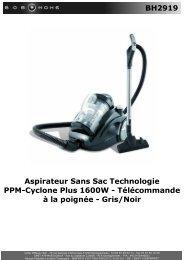 BH2919 Aspirateur Sans Sac Technologie PPM ... - BOB HOME