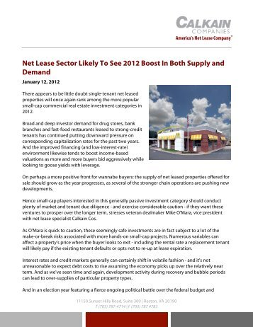 Net Lease Sector Likely To See 2012 Boost In Both Supply and ...