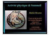 Activité physique & Sommeil - SPLF