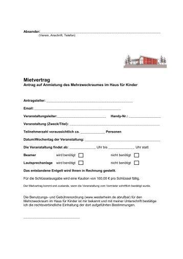 Antragsformular für die Anmietung des ... - in Westerheim