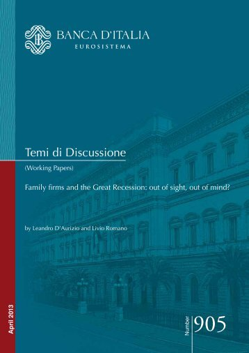 Family firms and the Great Recession: out of sight ... - Banca d'Italia