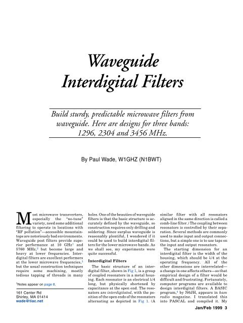 Waveguide Interdigital Filters - W1GHZ