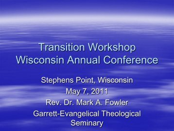 Transition Workshop Wisconsin Annual Conference