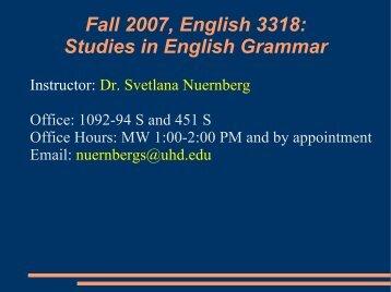 Fall 2007, English 3318: Studies in English Grammar