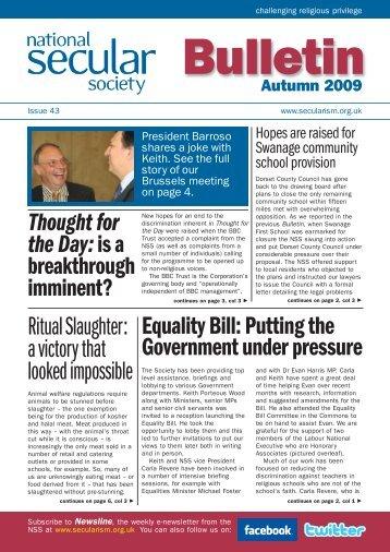 NSS Bulletin Autumn 09 - National Secular Society