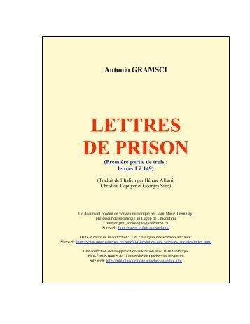Lettres de prison 1/3 - Les Classiques des sciences sociales - UQAC