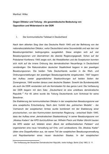 Manfred Wilke Gegen  Diktatur und Teilung - Prof. Manfred Wilke