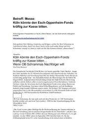 Köln könnte den Esch-Oppenheim-Fonds kräftig zur Kasse bitten ...