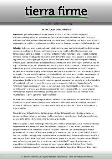 LA CULTURA EXHIBICIONISTA 1 - Tierra Firme