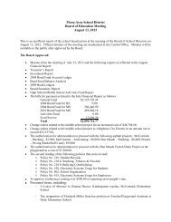 Moon Area School District Board of Education Meeting August 13 ...