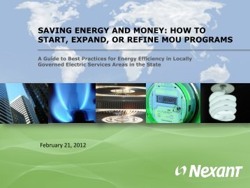 Saving Energy and Money: How to Start, Expand - State Energy ...