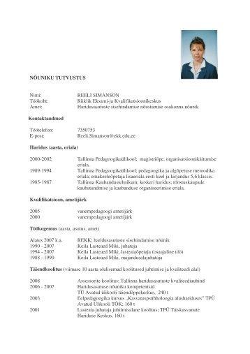 Reeli Simanson - Riiklik Eksami ja Kvalifikatsioonikeskus