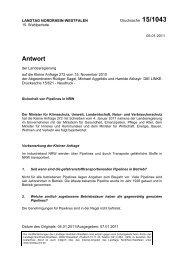 Sicherheit von Pipelines in NRW (Drs. 15/1043 vom 05.01.2011)