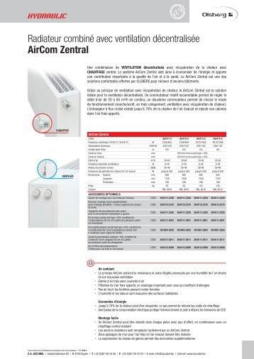 Radiateur combiné avec ventilation décentralisée AirCom ... - accubel