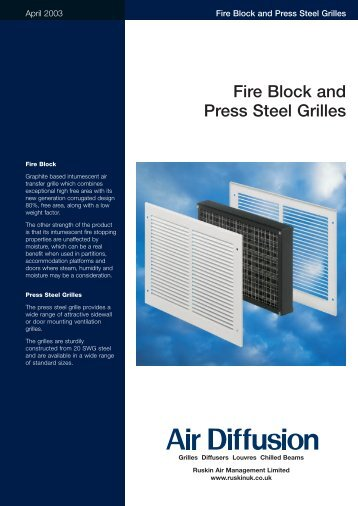 AD Fire Block Steel Grille - Air Diffusion