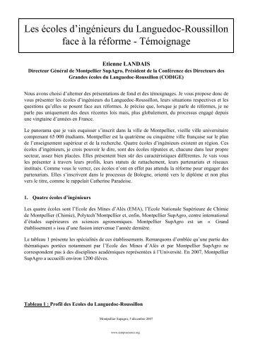Les écoles d'ingénieurs du Languedoc-Roussillon ... - SympoScience