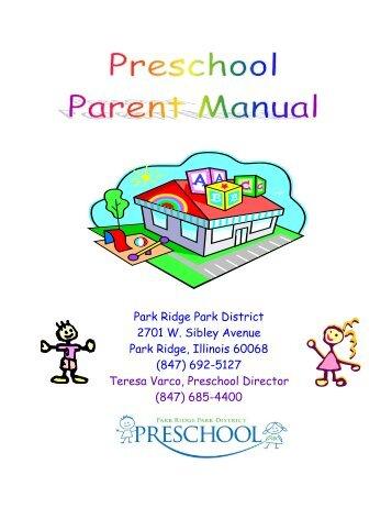 Preschool Parent Manual - Park Ridge Park District
