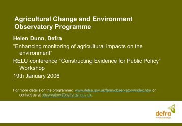 Agricultural Change and Environment Observatory Programme