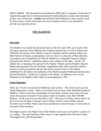 Summary Text for the Maldives - Reunite