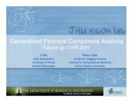 Generalized Principal Component Analysis - Vision, Dynamics and ...