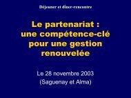 Présentation Le partenariat - Regroupement.net